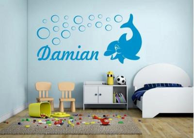 naklejka ścienna z imieniem dziecka - delfin motyw 516