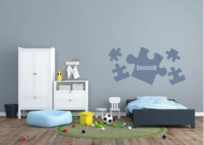 naklejka ścienna z imieniem dziecka -puzzle motyw 519