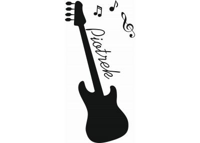 naklejka ścienna z imieniem dziecka -gitara i nuty motyw 527