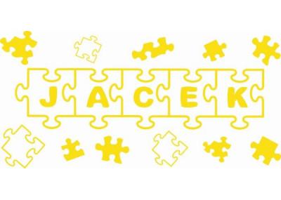 naklejka ścienna z imieniem dziecka puzzle 2 motyw 542