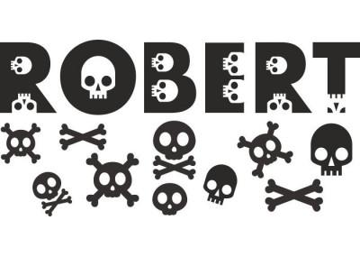 naklejka ścienna z imieniem dziecka motyw czaszki 567