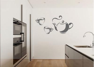 Naklejka do kuchni czajnik z filiżankami 713