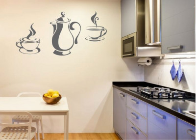 Naklejka do kuchni czajnik filiżanki 714