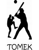 naklejka ścienna z imieniem dziecka -baseball 4 motyw 525