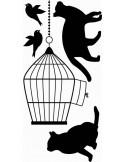 naklejka koty i klatka z ptakiem 1020