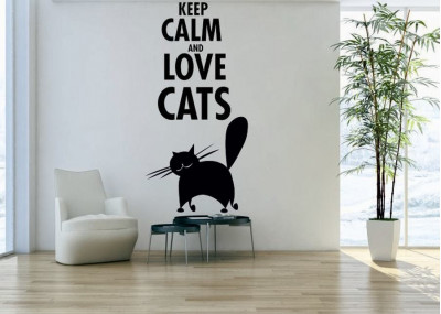 naklejka na ścianę keep calm and love cats 1024