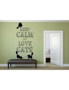 naklejka ścienna keep calm and love cats 1025