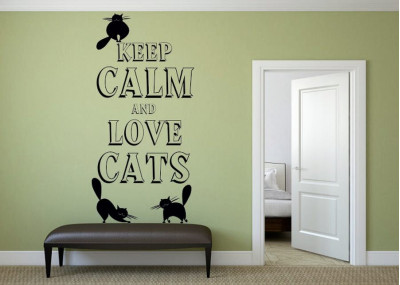 naklejka ścienna keep calm and love cats 1025