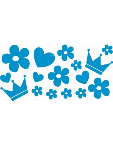 Naklejki na ścianę do pokoju dziecka - Kwiatki korona serce 1103