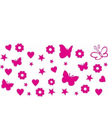 Naklejki na ścianę do pokoju dziecka - Gwiazdki  Serca Motyle Kwiatki 1135