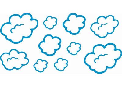 naklejki na ścianę do pokoju dziecka - -chmurki 1141