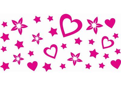 naklejki na ścianę do pokoju dziecka - gwiazdy serca 1142