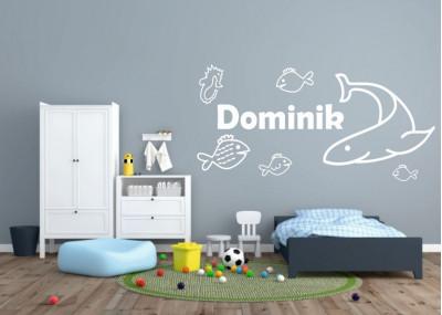 naklejka na ścianę z imieniem dziecka rybki rekin konik morski 576