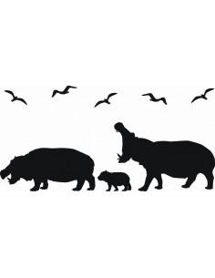 Naklejka ścienna Hipopotamy 1058