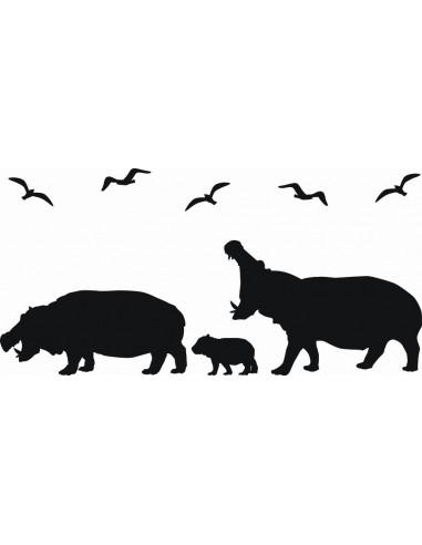 Naklejka na ścianę Hipopotamy 1058