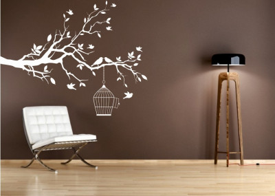 Naklejka drzewo klatka dla ptaków