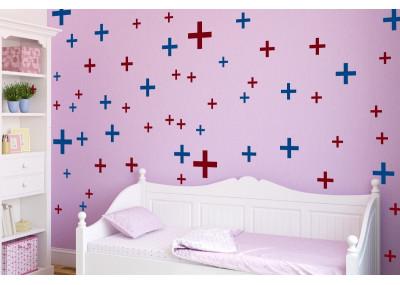Naklejki na ścianę - plusy krzyżyki