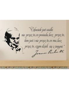 naklejka na ścianę  Jan Paweł ll cytat napis Człowiek jest wielki