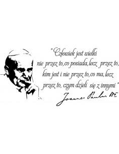 naklejka napis  Jan Paweł ll cytat napis Człowiek jest wielki