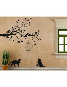 Naklejka drzewo klatka dla ptaków koty 1503