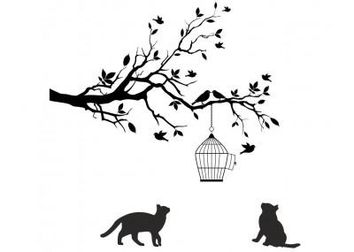 Drzewo klatka dla ptaków koty naklejka na ścianę 1503