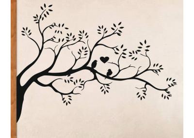 naklejka na ścianę drzewo z ptakami