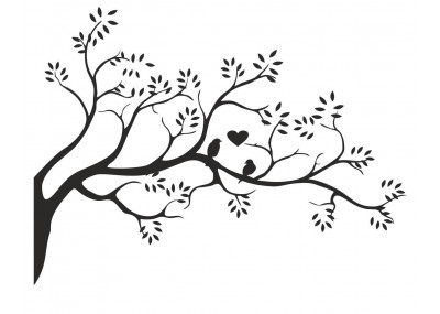 naklejka ścienna drzewo z ptakami