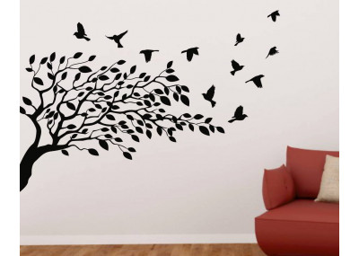 Drzewo z ptakami naklejka dekoracyjna 1506