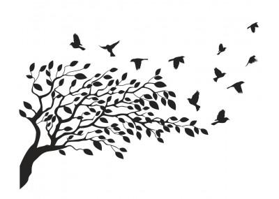 Drzewo z ptakami naklejka na ścianę 1506
