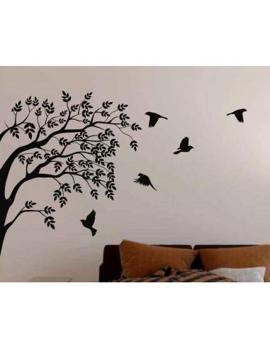 Drzewo z ptakami naklejka ścienna 1508
