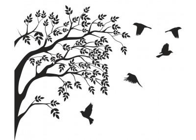 Drzewo z ptakami naklejka na ścianę