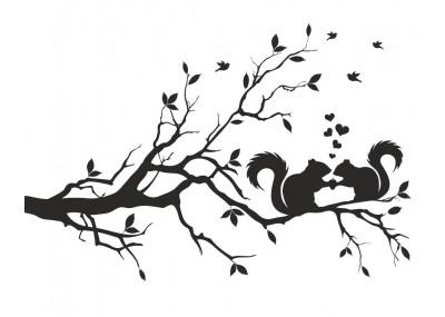naklejka na ścianę drzewo z wiewiórkami 1509