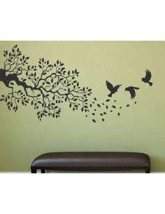 naklejka na ścianę drzewo z ptakami 1510