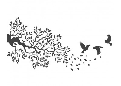 naklejka ścienna drzewo z ptakami 1510