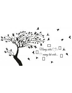 naklejka drzewo z cytatem i ramkami na zdjęcia 1501CR