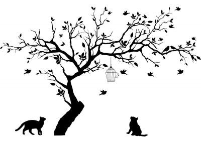 Naklejka drzewo na ścianę z kotami