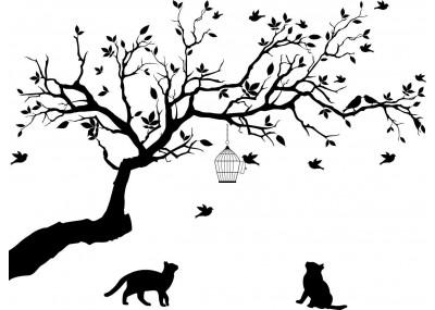 Naklejka drzewo dekoracja na ścianę z kotami 1521