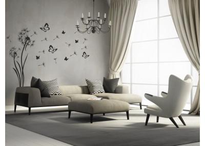 Wizualizacja naklejki na ścianę z dmuchawcami w salonie.