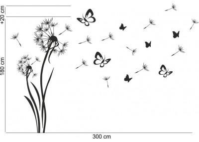 Przykład rozmieszczenia motyli i lotek z naklejką na ścianę dmuchawcami.