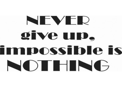 Never give up impossible is nothing 108