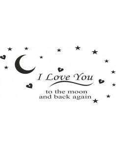 napisy na ścianę I love You to the moon and back again 4
