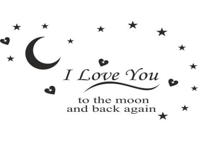napisy na ścianę I love You to the moon and back again 4