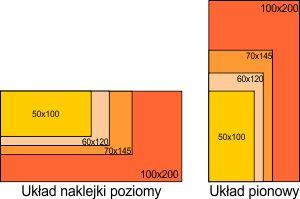 Porównanie rozmiarów naklejek ściennych w poziomie i pionie